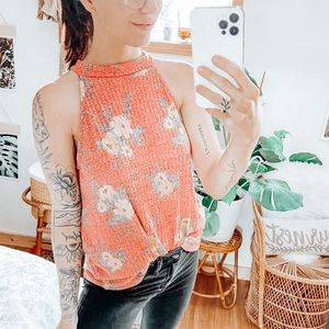 Anthropologie W5 Floral Button Back Tank Top